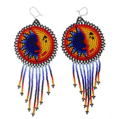 Beaded waterfall earrings, 'Wirikuta Eclipse in Yellow' - Hand Beaded Huichol Long Waterfall Earrings