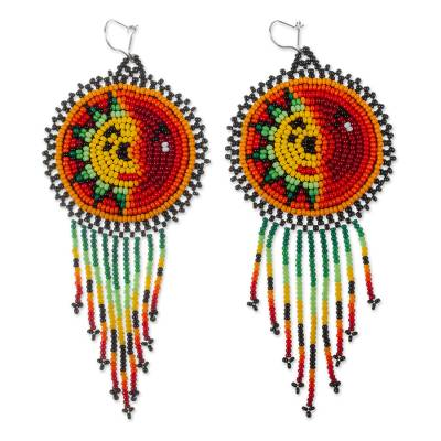 Beaded waterfall earrings, 'Wirikuta Eclipse in Red' - Multicolored Huichol Long Beaded Waterfall Earrings