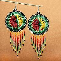 Beaded waterfall earrings, 'Wirikuta Eclipse in Green' - Huichol Style Long Beaded Waterfall Earrings