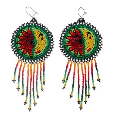 Beaded waterfall earrings, 'Wirikuta Eclipse in Green' - Huichol Style Long Beaded Waterfall Earrings