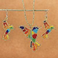 Beaded jewelry set, 'Hummingbird in Rainbow' - Multicolored Glass Beaded Hummingbird Jewelry Set