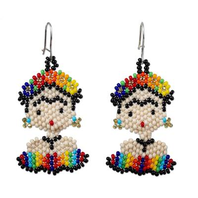 Beaded dangle earrings, 'Rainbow Frida' - Handmade Multicolored Beaded Frida Earrings