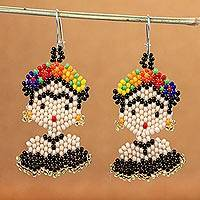 Beaded dangle earrings, 'Frida in Black' - Handmade Beaded Frida Dangle Earrings
