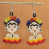 Beaded dangle earrings, 'Frida in Red and Yellow' - Handmade Beaded Earrings on Sterling Silver Hooks
