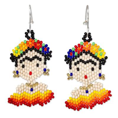 Beaded dangle earrings, 'Frida in Red and Yellow' - Handmade Beaded Earrings on Sterling Silver Hooks