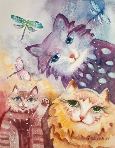 Cat Themed Watercolor Painting from Mexico
