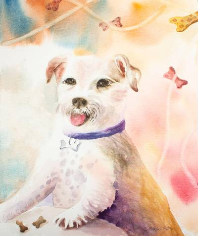 Watercolor on Paper Painting of Dog Birthday Party