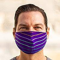 Acrylic face masks, 'Imperial Purple' (pair) - 2 Purple Striped Cambaya Cloth Lined Face Masks