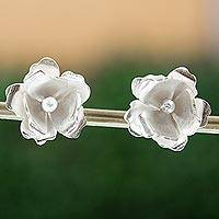 Silver button earrings, 'Lovely Gardenia' - Gardenia Blossom 950 Silver Button Earrings