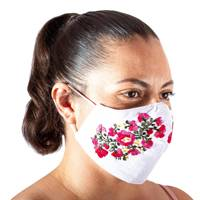 Embroidered cotton face mask, 'Rose Garden' - Hand Embroidered Reusable Cotton Mask from Mexico