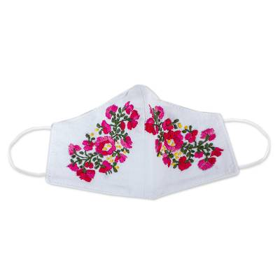 Hand Embroidered Reusable Cotton Mask from Mexico