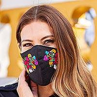 Embroidered cotton face mask, 'Night Garden' - Washable Hand Embroidered Black Floral Face Mask
