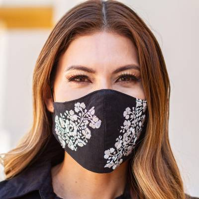 Embroidered cotton face mask, 'Flower Garden in Beige' - Black and Beige Floral Face Mask with 2 Layers