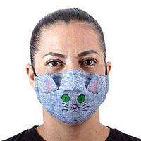Cotton face mask, 'Chambray Kitty Cat' - Blue Cotton Chambray 3-Layer Ear Loop Cat Face Mask