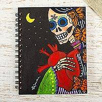 Art print mini journal, 'La Catrina' - Unlined Catrina Skeleton Art Print Mini Journal
