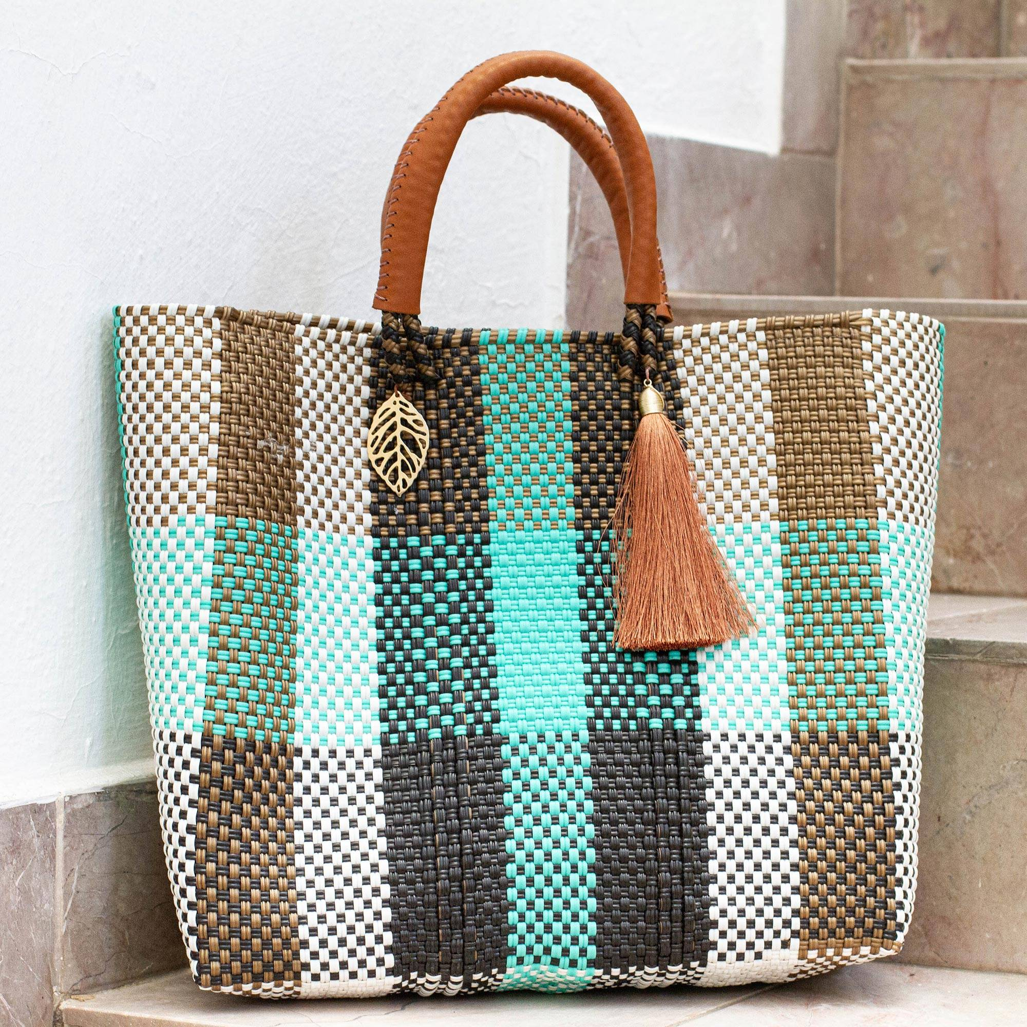 Handwoven Tote Bag For Men or Women Fully Lined With Pockets