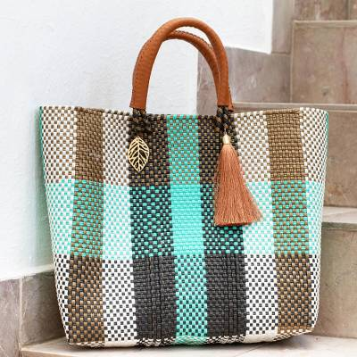 Leather accent tote, 'Zamora Fashion' - Handwoven Eco Friendly Mexican Tote in Green & Beige