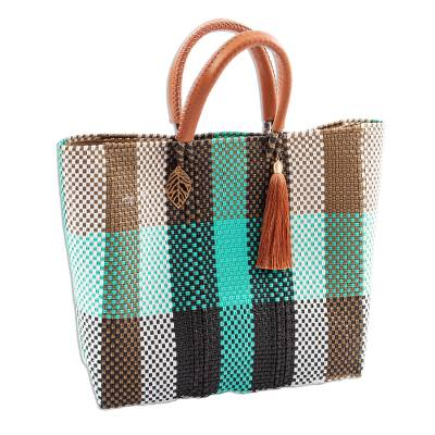 Handwoven Eco Friendly Mexican Tote in Green & Beige