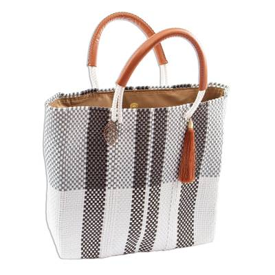 Handwoven Eco Friendly Mexican Tote in Black-White-Grey
