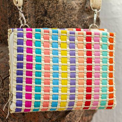 Leather accent handwoven wristlet, 'Rainbow Summer' - Colorful Handwoven Wristlet Wallet with Shoulder Strap