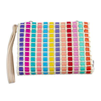 Colorful Handwoven Wristlet Wallet with Shoulder Strap