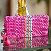 Leather accent handwoven wristlet, 'Fabulous Fuchsia' - Handwoven Fuchsia Wristlet Wallet with 9 Pockets