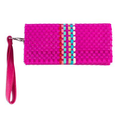 Handwoven Fuchsia Wristlet Wallet with 9 Pockets