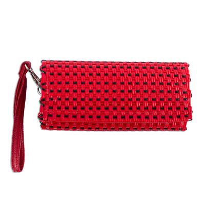 Handwoven Red & Black Wristlet Wallet with 9 Pockets