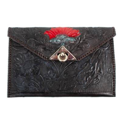 Black Hand Tooled Leather Clutch from Mexico