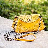 Leather baguette clutch or shoulder bag, 'Golden Flourish' - Golden Tooled Leather Shoulder Bag or Clutch