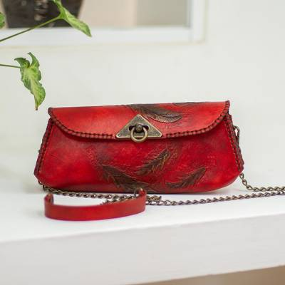 Leather baguette clutch or shoulder bag, 'Red Feathers' - Feather Motif Hand Tooled Leather Baguette Bag