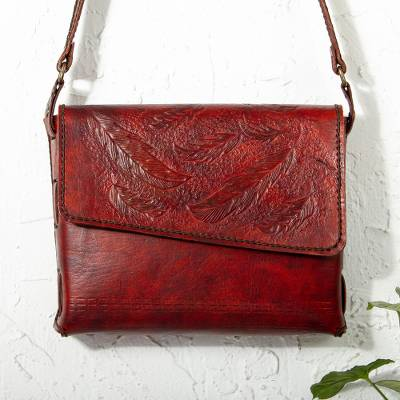 Leather shoulder bag, 'Russet Feathers' - Russet Hand Tooled Leather Shoulder Bag