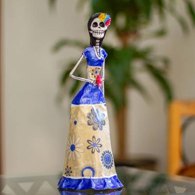Papier mache sculpture, 'Catrina with Flower' - Unique Papier Mache Catrina Statuette with Flower