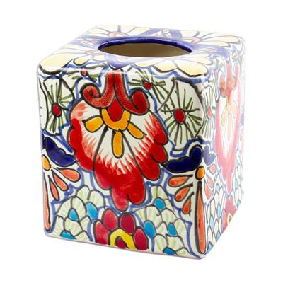 Talavera-Style Ceramic Tissue Box Cover