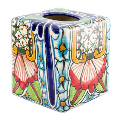 Hand Painted Talavera Style Tissue Box Cover
