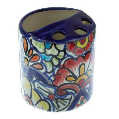 Artisan Crafted Multicolored Ceramic Toothbrush Holder
