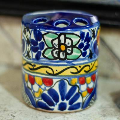 Ceramic toothbrush holder, 'Cobalt Flowers' - Colorful Ceramic Talavera-Style Toothbrush Holder