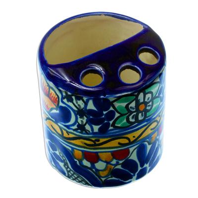 Colorful Ceramic Talavera-Style Toothbrush Holder