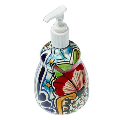 Talavera-Style Ceramic Liquid Soap Dispenser