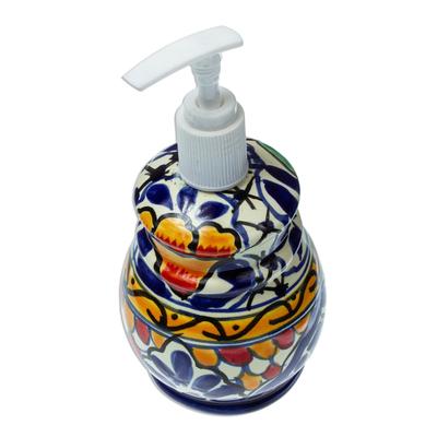 Artisan Crafted Ceramic Floral Soap Dispenser