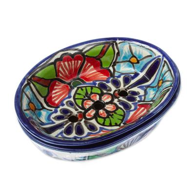 Handmade Talavera Style Ceramic Soap Dish