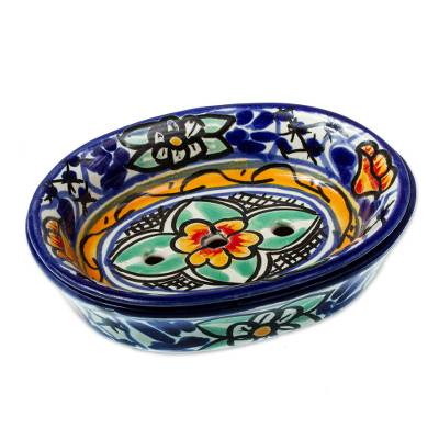 Colorful Hand Painted Ceramic Soap Dish