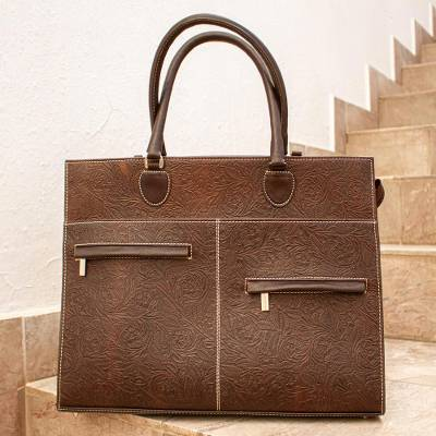Leather briefcase, 'Aristocrat' - Embossed Brown Leather Briefcase Handmade in Mexico