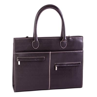 Black Leather Briefcase with Laptop Compartment from Mexico