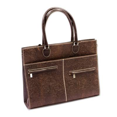 Embossed Brown Leather Briefcase