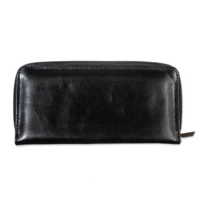 Elegant Black Long Zipper Wallet