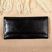 Long leather trifold wallet, 'Coporo Black' - Trifold Black Leather Wallet from Mexico