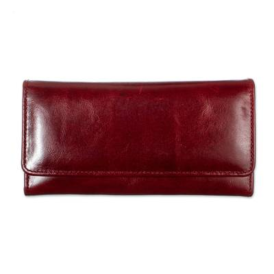 Burgundy Leather Wallet with Coin Pocket