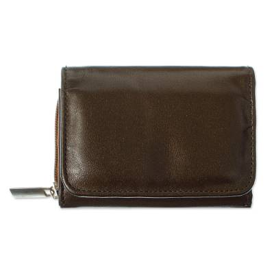 Clay Brown Leather Trifold Wallet