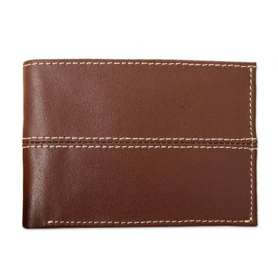 Brown Leather Wallet with Contrast Topstitching
